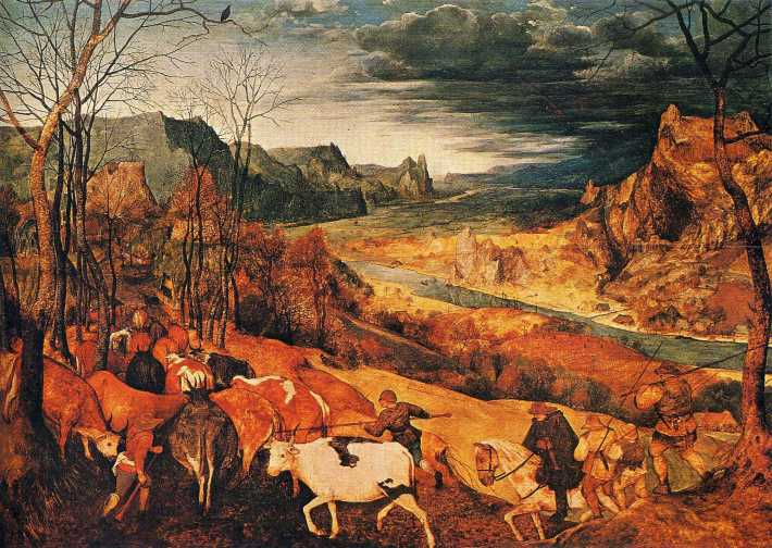 The Return of the Herd (October/November) - 1565 - Pieter Bruegel