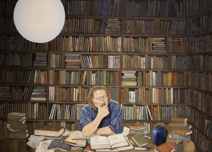 "Dreamtime of Reason - Portrait of Peter Sloterdijk - 46"" x 33"" - Oil on Canvas - 2014 - Michael Burris Johnson"