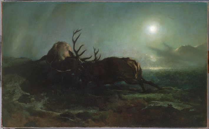 "Night (Two Stags Battling by Moonlight) - Sir Edwin Landseer - 1853 - 56""x103"" - Oil on Canvas"