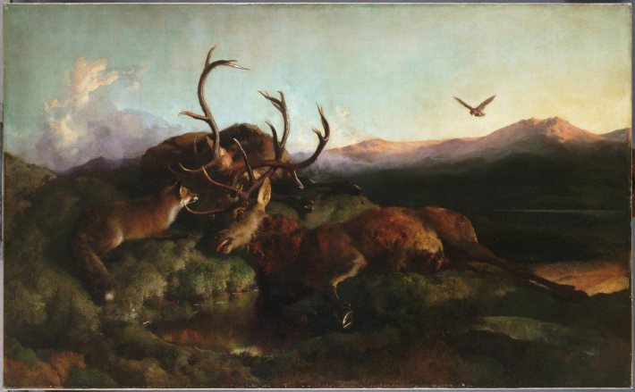 "Morning (Two Dead Stags and a Fox) - Sir Edwin Landseer - 1853 - 56""x103"" - Oil on Canvas"