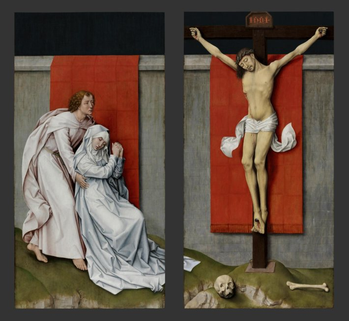 The Crucifixion, with the Virgin and Saint John the Evangelist Mourning, 1460 -  Rogier van der Weyden, Netherlandish (active Tournai and Brussels), 1399/1400 - 1464 - 71 x 73 3/8 inches - Oil on panel