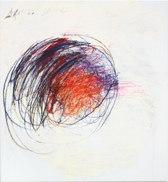 Fifty Days at Iliam: Shield of Achilles, 1978 - Cy Twombly, American, 1928 - 2011 - Oil, oil crayon, and graphite on canvas - 75 1/2 x 67 inches