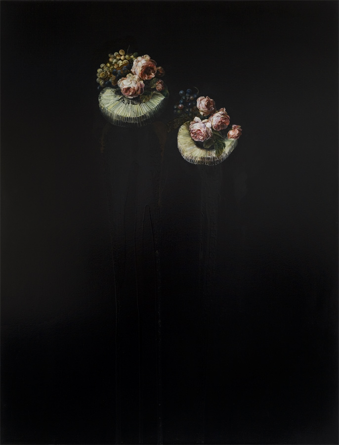 Death & Co, 2008, Oil and French enamel on Canvas 170 x 130cm - Emma Bennett - http://www.emmabennett.info