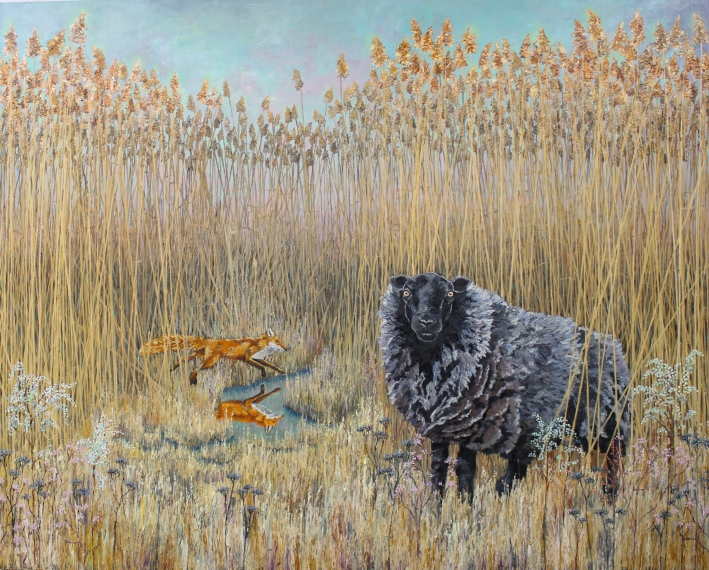 "Between the Reeds - 75"" x 60"" - Oil on Canvas - 2015 - Michael Burris Johnson"