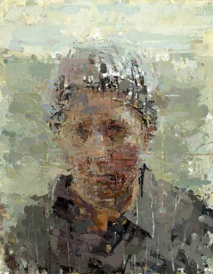 Portrait with Grid, 2014 oil on masonite 14×11″