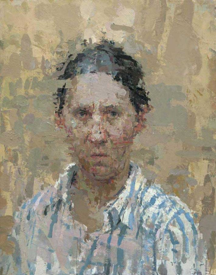 Self Portrait with Blue Stripes, 2008 Oil on Masonite 14 x 11 Inches