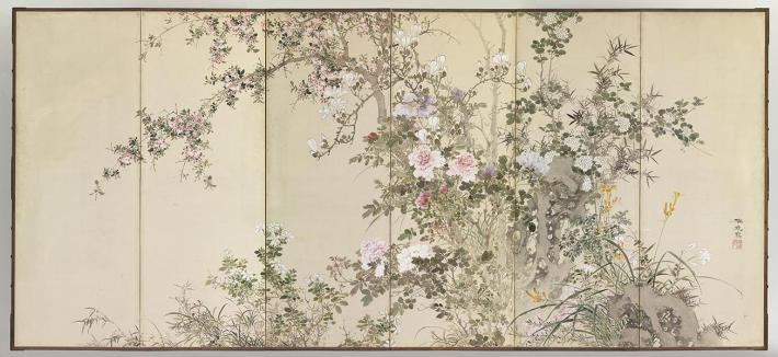 Yamamoto Baiitsu, Flowers and Plants of the Four Seasons, 1830s, pair of six-panel folding screens: ink and pigment on paper, Gitter-Yelen Collection. Photo © The Israel Museum, Jerusalem, by Elie Posner