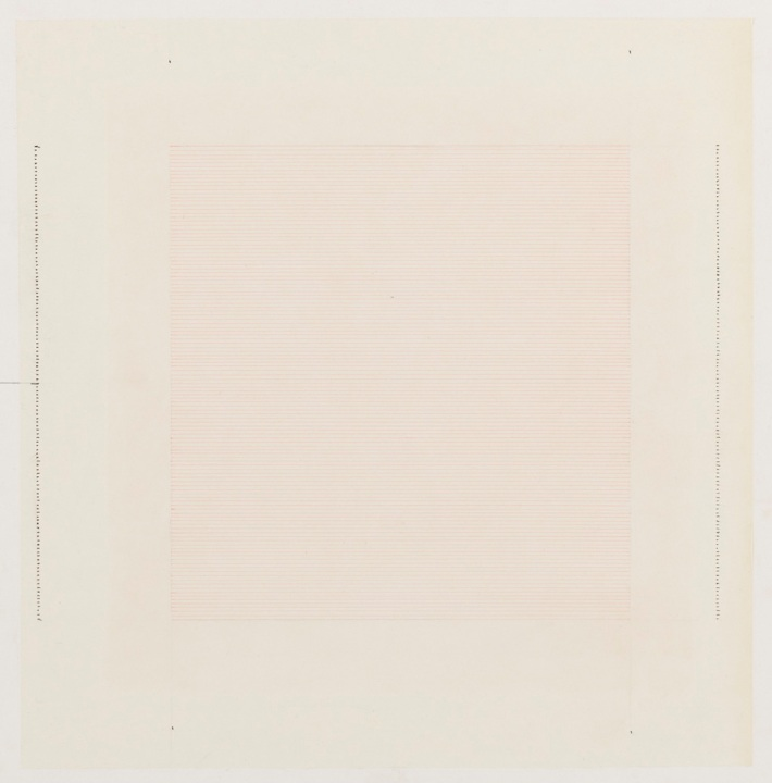 Agnes Martin - Red Bird, 1964 - Pencil, Ink on paper - 30x31cm