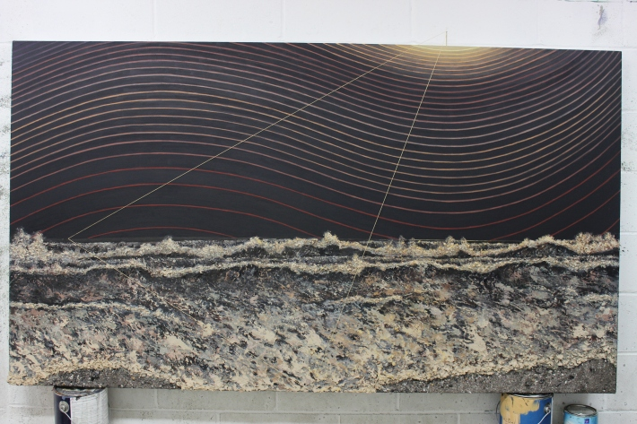 """For Freddi - existing & ceasing to exist - 76""""x41"""" - oil, ash, thread on canvas - 2013"""